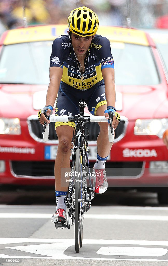 Alberto Contador of Spain and Team Saxo-Tinkoff finishes stage eighteen of the 2013 Tour de France, a 172.5KM road stage from Gap to l'Alpe d'Huez, on July 18, 2013 in Alpe d'Huez, France.