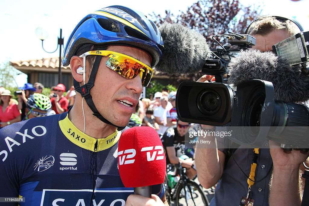 Alberto Contador of Spain and Team Saxo-Tinkoff gives an interview during Stage One of the Tour de France 2013, the 100th Tour de France, between Porto-Vecchio and Bastia on June 29, 2013 in Bastia, Corsica, France.