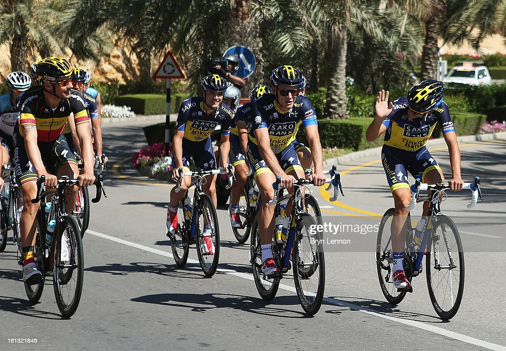 <a gi-track='captionPersonalityLinkClicked' href=/galleries/search?phrase=Alberto+Contador&family=editorial&specificpeople=562697 ng-click='$event.stopPropagation()'>Alberto Contador</a> of Spain and Team Saxo-Tinkoff greets <a gi-track='captionPersonalityLinkClicked' href=/galleries/search?phrase=Tom+Boonen&family=editorial&specificpeople=221255 ng-click='$event.stopPropagation()'>Tom Boonen</a> of Belgium and Omega Pharma- Quick Step during training for the 2013 Tour of Oman on February 10, 2013 in Muscat, Oman. The Tour of Oman starts tomorrow with a 162km stage from Al Musannah to Sultan Qaboos University.