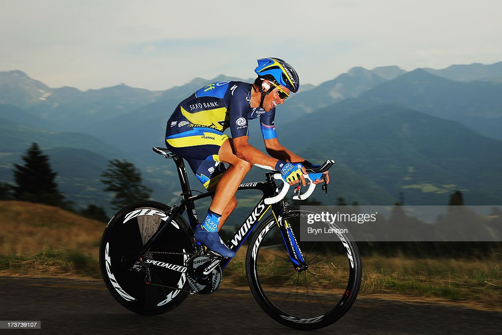 <a gi-track='captionPersonalityLinkClicked' href=/galleries/search?phrase=Alberto+Contador&family=editorial&specificpeople=562697 ng-click='$event.stopPropagation()'>Alberto Contador</a> of Spain and Team Saxo-Tinkoff in action during stage seventeen of the 2013 Tour de France, a 32KM Individual Time Trial from Embrun to Chorges, on July 17, 2013 in Chorges, France.