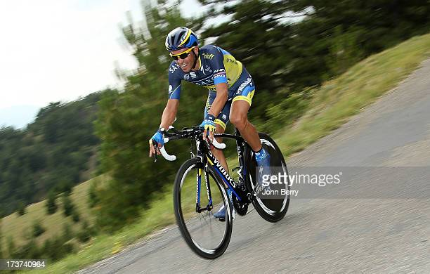 Alberto Contador of Spain and Team SaxoTinkoff in action during stage seventeen of the 2013 Tour de France a 32KM Individual Time Trial from Embrun...