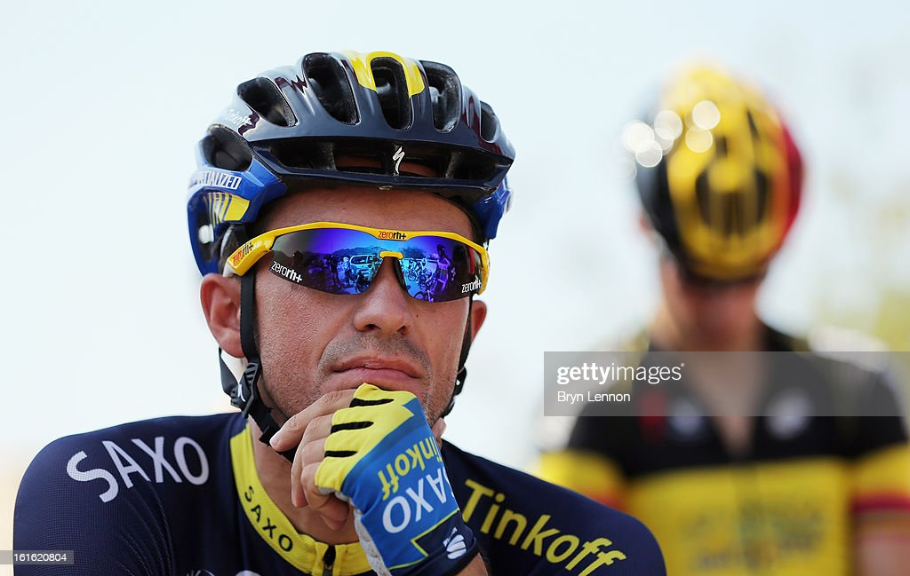 Alberto Contador of Spain and Team Saxo-Tinkoff looks on at the start of stage three of the 2013 Tour of Oman from Nakhal Fort to Wadi Dayqah Dam on February 13, 2013 in Nakhal Fort, Oman.