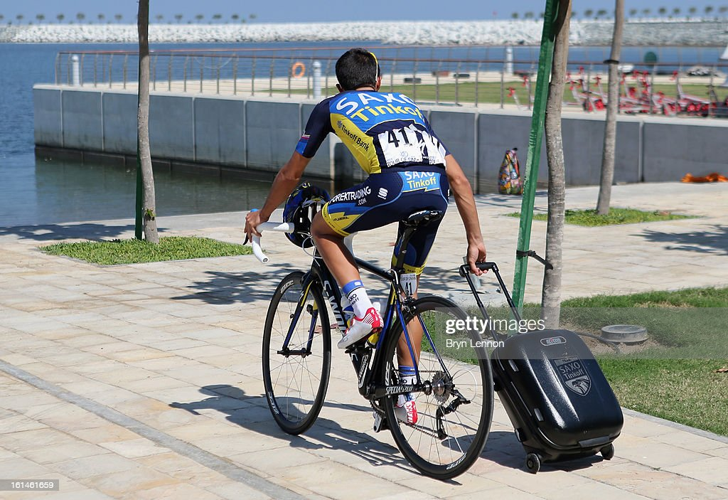 Alberto Contador of Spain and Team Saxo-Tinkoff makes his way to the start of stage one of the 2013 Tour of Oman from Al Musannah to Sultan Qaboos University on February 11, 2013 in Al Musannah, Oman.