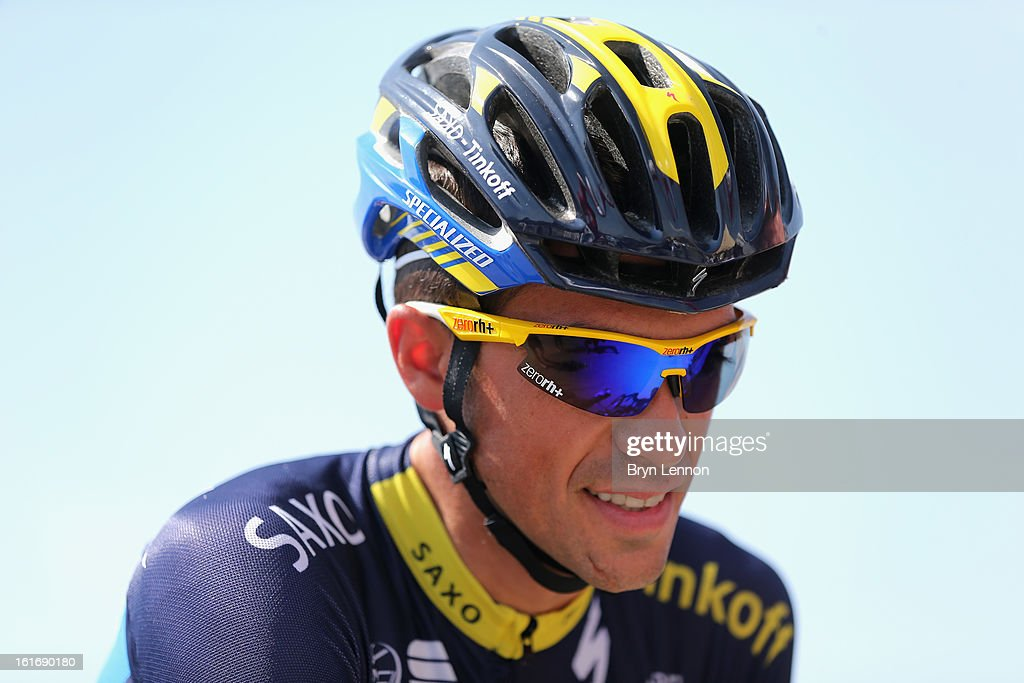 Alberto Contador of Spain and Team Saxo-Tinkoff prepares for stage four of the 2013 Tour of Oman from Al Saltiyah in Samail to Jabal Al Akhdhar (Green Mountain) on February 14, 2013 in Al Saltiyah in Samail, Oman.
