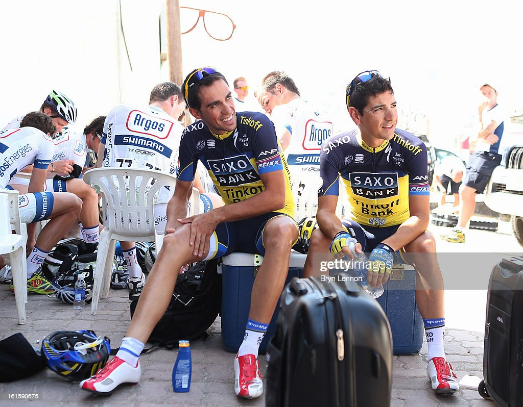 <a gi-track='captionPersonalityLinkClicked' href=/galleries/search?phrase=Alberto+Contador&family=editorial&specificpeople=562697 ng-click='$event.stopPropagation()'>Alberto Contador</a> of Spain and Team Saxo-Tinkoff prepares for the start of stage two of the 2013 Tour of Oman from Fanja in Bidbid to Al Bustan on February 12, 2013 in Fanja in Bidbid, Oman.