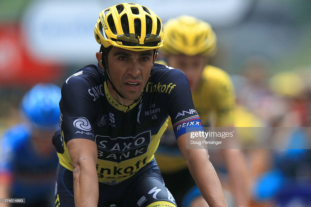Alberto Contador of Spain and Team Saxo-Tinkoff reacts as he crosses the finish line at the end of stage nineteen of the 2013 Tour de France, a 204.5KM road stage from Bourg d'Oisans to Le Grand Bornand, on July 19, 2013 in Le Grand Bornand, France.