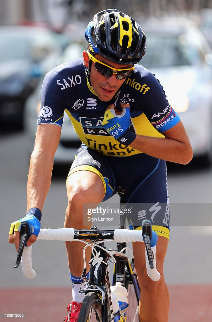 Alberto Contador of Spain and Team Saxo-Tinkoff rides at the back of the peloton during the 77th edition of La Fleche Wallonne cycle race from Binche to Huy on April 17, 2013 in Huy, Belgium.
