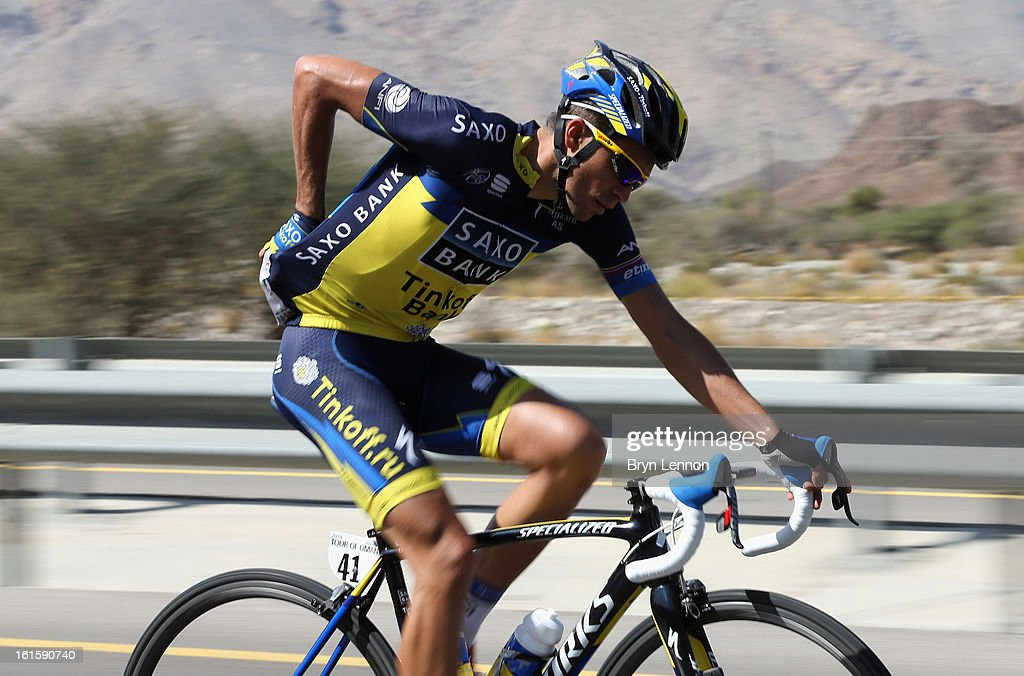 <a gi-track='captionPersonalityLinkClicked' href=/galleries/search?phrase=Alberto+Contador&family=editorial&specificpeople=562697 ng-click='$event.stopPropagation()'>Alberto Contador</a> of Spain and Team Saxo-Tinkoff rides in the peloton during stage two of the 2013 Tour of Oman from Fanja in Bidbid to Al Bustan on February 12, 2013 in Al Bustan, Oman.