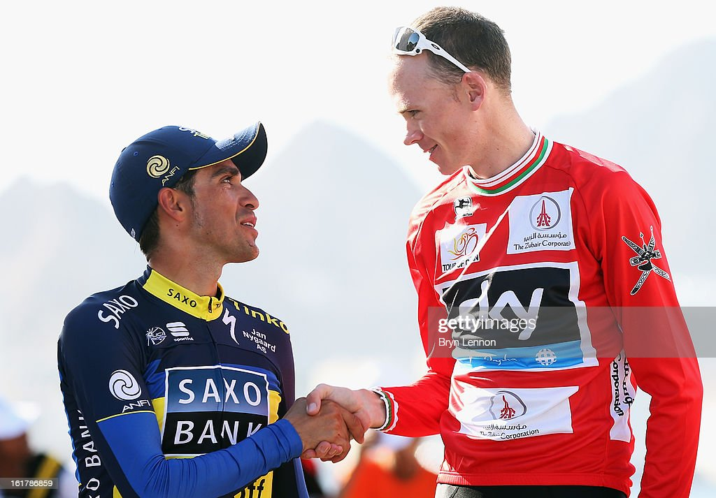 <a gi-track='captionPersonalityLinkClicked' href=/galleries/search?phrase=Alberto+Contador&family=editorial&specificpeople=562697 ng-click='$event.stopPropagation()'>Alberto Contador</a> of Spain and Team Saxo-Tinkoff shakes hands with race winner <a gi-track='captionPersonalityLinkClicked' href=/galleries/search?phrase=Chris+Froome&family=editorial&specificpeople=5428054 ng-click='$event.stopPropagation()'>Chris Froome</a> of Great Britain and SKY Procycling on the podium after stage six of the 2013 Tour of Oman from Hawit Nagam Park to the Matrah Corniche on February 16, 2013 in Matrah, Oman.