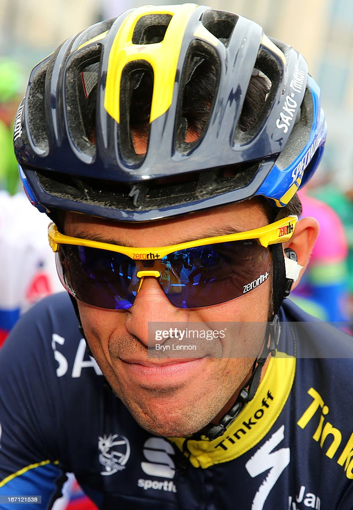 Alberto Contador of Spain and Team Saxo-Tinkoff smiles at the start of the 99th Liege-Bastogne-Liege cycle road race on April 21, 2013 in Liege, Belgium.