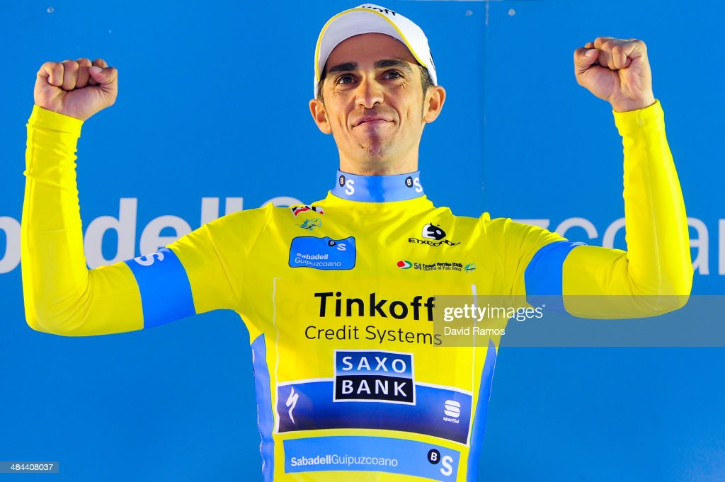 <a gi-track='captionPersonalityLinkClicked' href=/galleries/search?phrase=Alberto+Contador&family=editorial&specificpeople=562697 ng-click='$event.stopPropagation()'>Alberto Contador</a> of Spain and Team Tinkoff-Saxo celebrates on the final podium after overall victory in the Vuelta al Pais Vasco on April 12, 2014 in Markina, Spain.