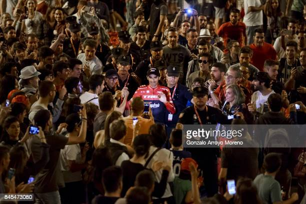 Alberto Contador of Spain and team Trek Segafredo celebrates with the crowd after finishing 5th overall in the Vuelta a Espana cycling race after the...