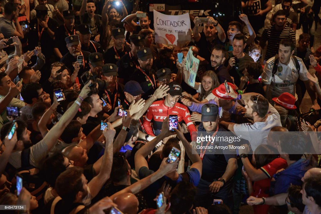 Alberto Contador of Spain and team Trek Segafredo celebrates with the crowd after finishing 5th overall in the Vuelta a Espana cycling race after the Stage 21 in Cibeles square on September 10, 2017 in Madrid, Spain. This was Alberto Contador's last race after recently announcing his retirement.