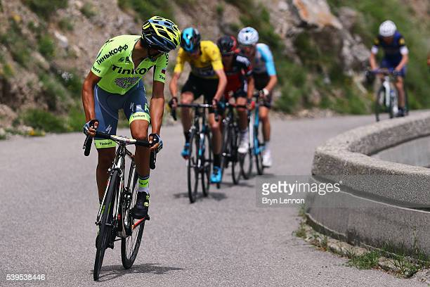 Alberto Contador of Spain and the Tinkoff team tries to distance Chris Froome of Great Britain and Team SKY during stage seven of the 2016 Criterium...