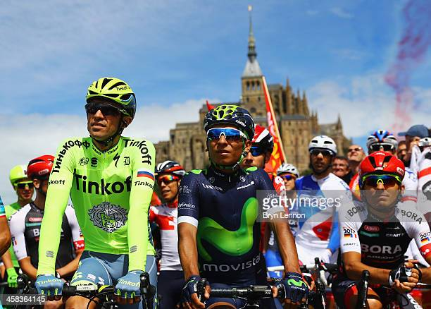 Alberto Contador of Spain and Tinkoff and Nairo Quintana of Colombia and Movistar Team look on prior to Stage One of Le Tour de France 2016 on July 2...