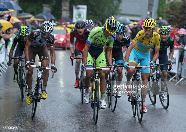 Alberto Contador of Spain and TinkoffSaxo attacks the group of the yellow jersey of Vincenzo Nibali of Italy and the Astana Pro Team on the final...
