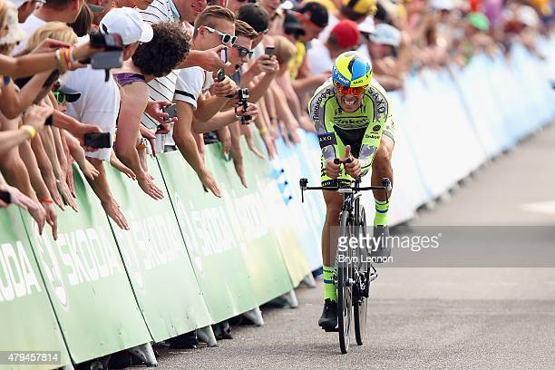 Alberto Contador of Spain and TinkoffSaxo in action on stage one of the 2015 Tour de France on July 4 2015 in Utrecht Netherlands