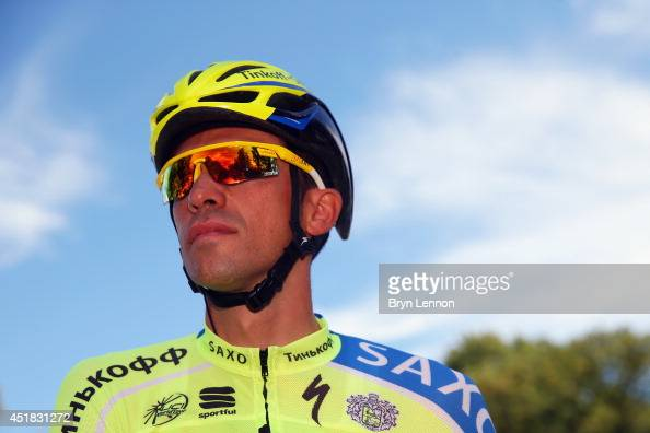 Alberto Contador of Spain and TinkoffSaxo looks on at start of the third stage of the 2014 Tour de France a 155km stage between Cambridge and London...