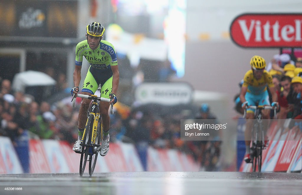 Alberto Contador of Spain and TinkoffSaxo puts in a late attack to gain seconds on current race leader Vincenzo Nibali of Italy and the Astana Pro...