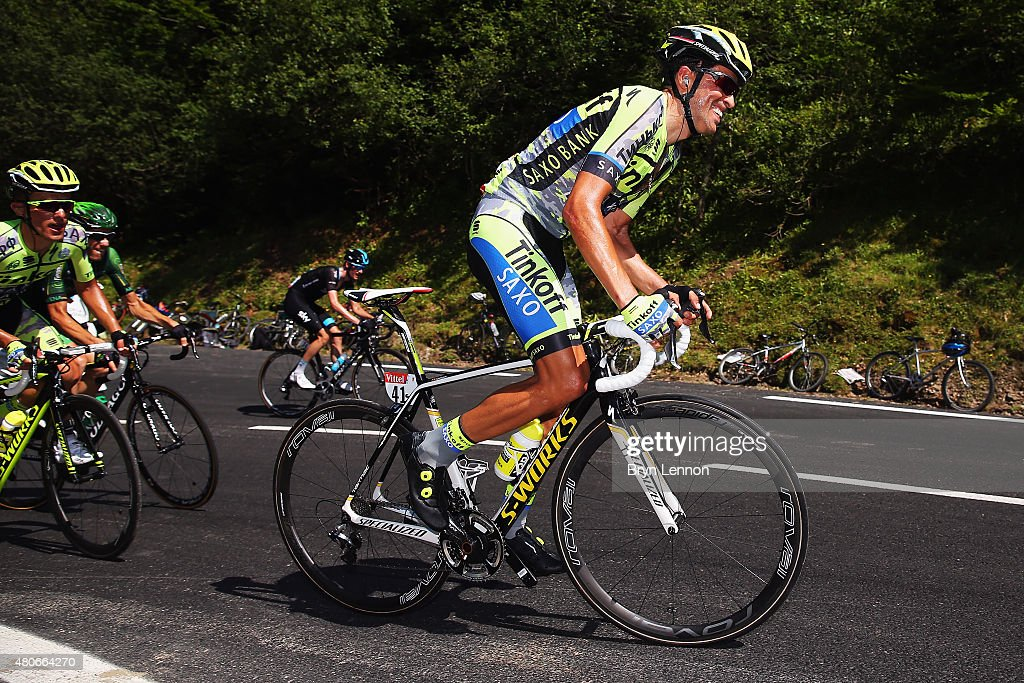 Alberto Contador of Spain and TinkoffSaxo rides during stage ten of the 2015 Tour de France a 167 km stage between Tarbes and La PierreSaintMartin on...
