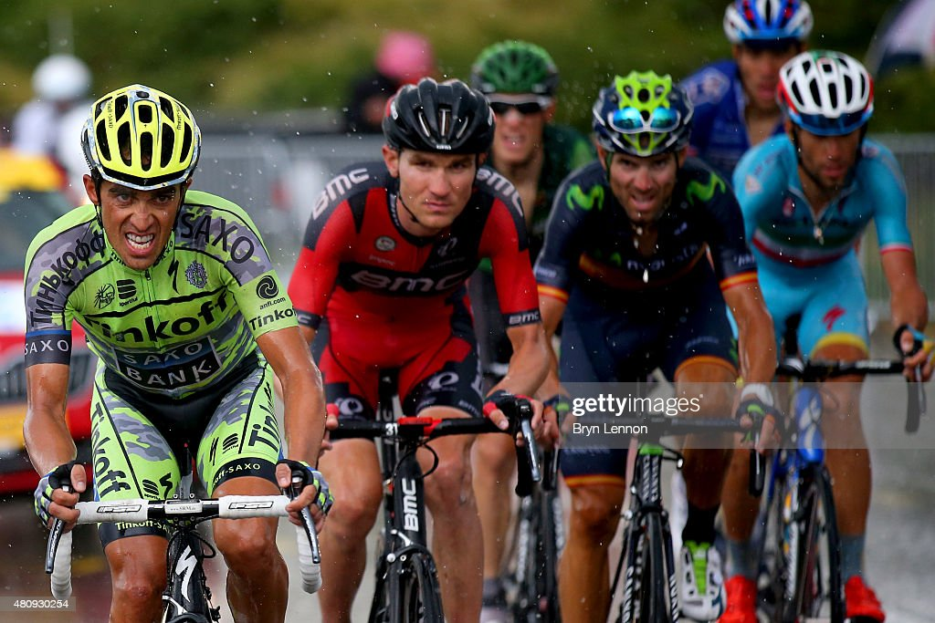 <a gi-track='captionPersonalityLinkClicked' href=/galleries/search?phrase=Alberto+Contador&family=editorial&specificpeople=562697 ng-click='$event.stopPropagation()'>Alberto Contador</a> of Spain and Tinkoff-Saxo, Tejay van Garderen of the United States and BMC Racing Team, <a gi-track='captionPersonalityLinkClicked' href=/galleries/search?phrase=Alejandro+Valverde&family=editorial&specificpeople=193419 ng-click='$event.stopPropagation()'>Alejandro Valverde</a> Belmonte of Spain and Movistar Team and <a gi-track='captionPersonalityLinkClicked' href=/galleries/search?phrase=Vincenzo+Nibali&family=editorial&specificpeople=770634 ng-click='$event.stopPropagation()'>Vincenzo Nibali</a> of Italy and Astana Pro Team ride during stage twelve of the 2015 Tour de France, a 195 km stage between Lannemezan and Plateau de Beille, on July 16, 2015 in Plateau de Beille, France.