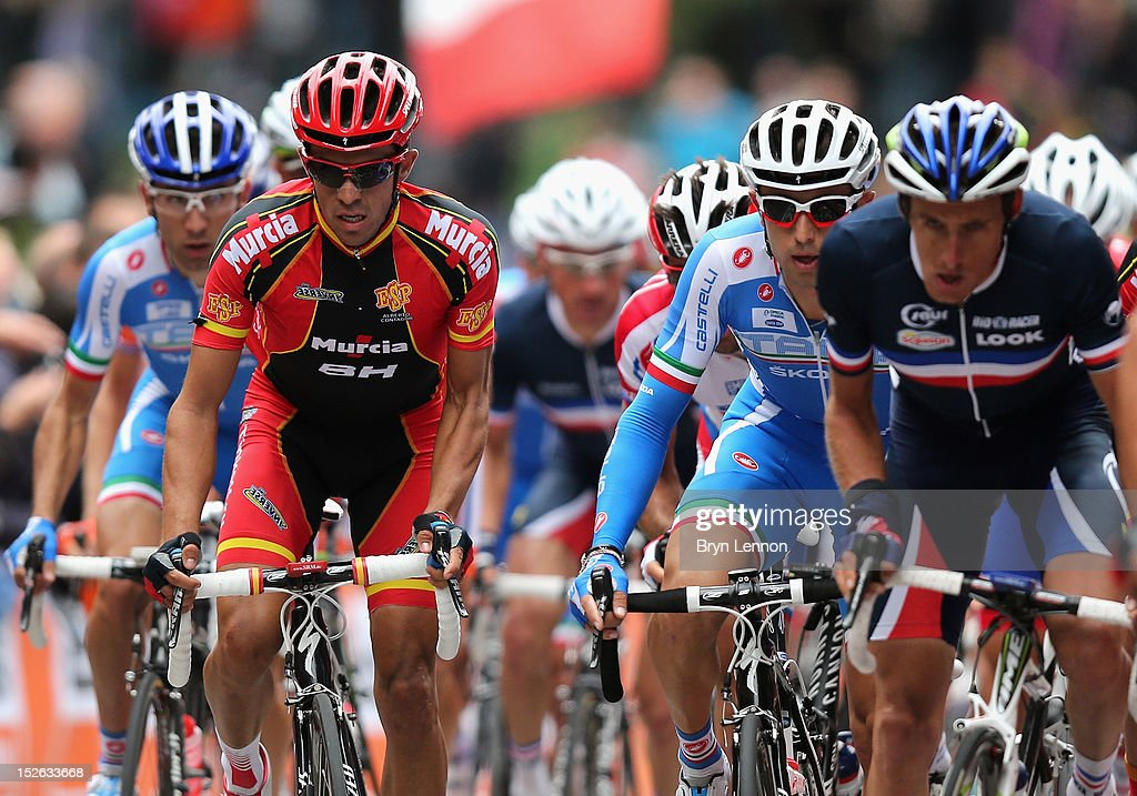 Alberto Contador (l) of Spain climbs the Cauberg during the Men's Elite Road Race on day eight of the UCI Road World Championships on September 23, 2012 in Valkenburg, Netherlands.