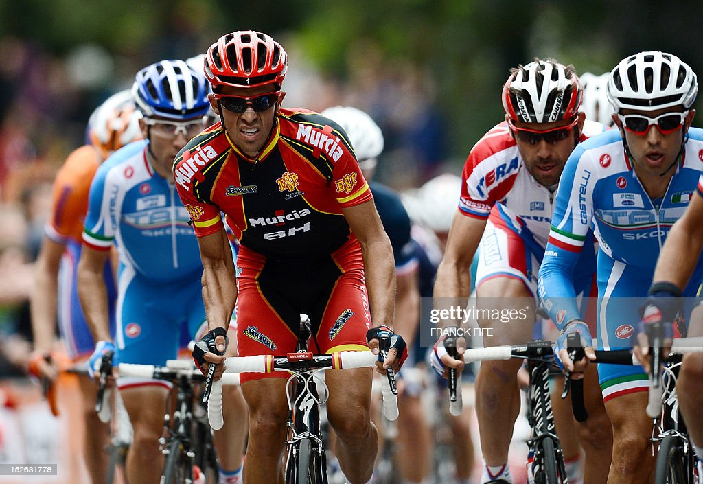 Alberto Contador (L) of Spain leads rides at the head of the breakaway during the Men's Elite Road World Championships on September 23, 2012 in Valkenburg. Philippe Gilbert of Belgium won the race ahead Edvald Boasson Hagen of Norway and Alejandro Valverde of Spain.