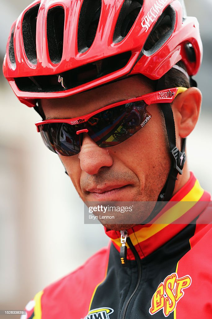 Alberto Contador of Spain lines up at the start of the Men's Elite Road Race on day eight of the UCI Road World Championships on September 23, 2012 in Maastricht, Netherlands.