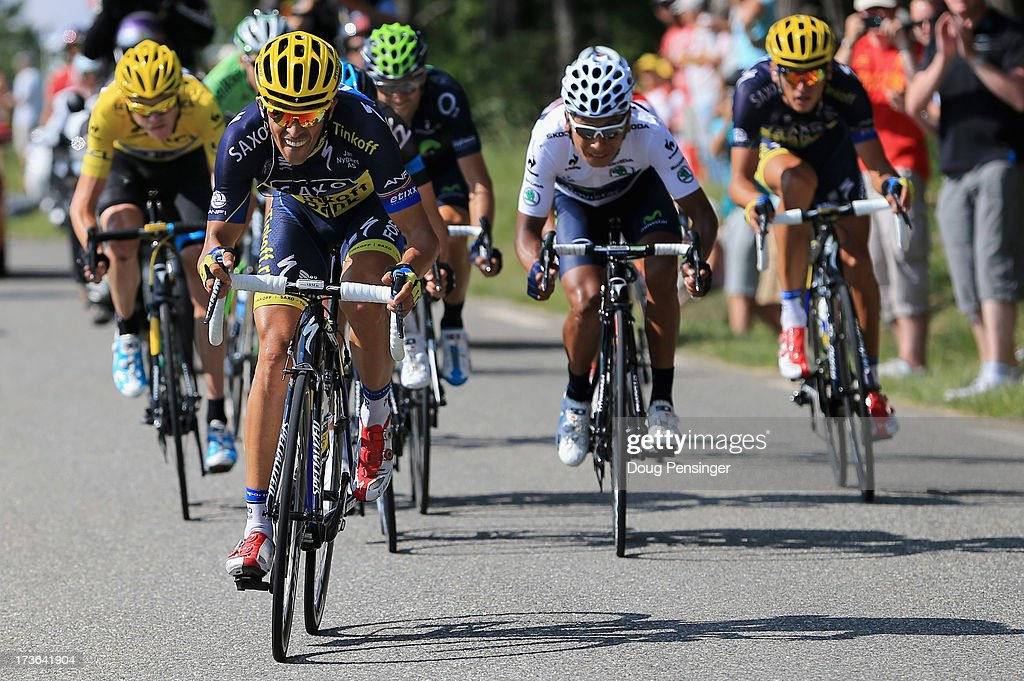 Alberto Contador of Spain riding for Team SaxoTinkoff attacks the group of the yellow jersey of Chris Froome of Great Britain riding for Sky...