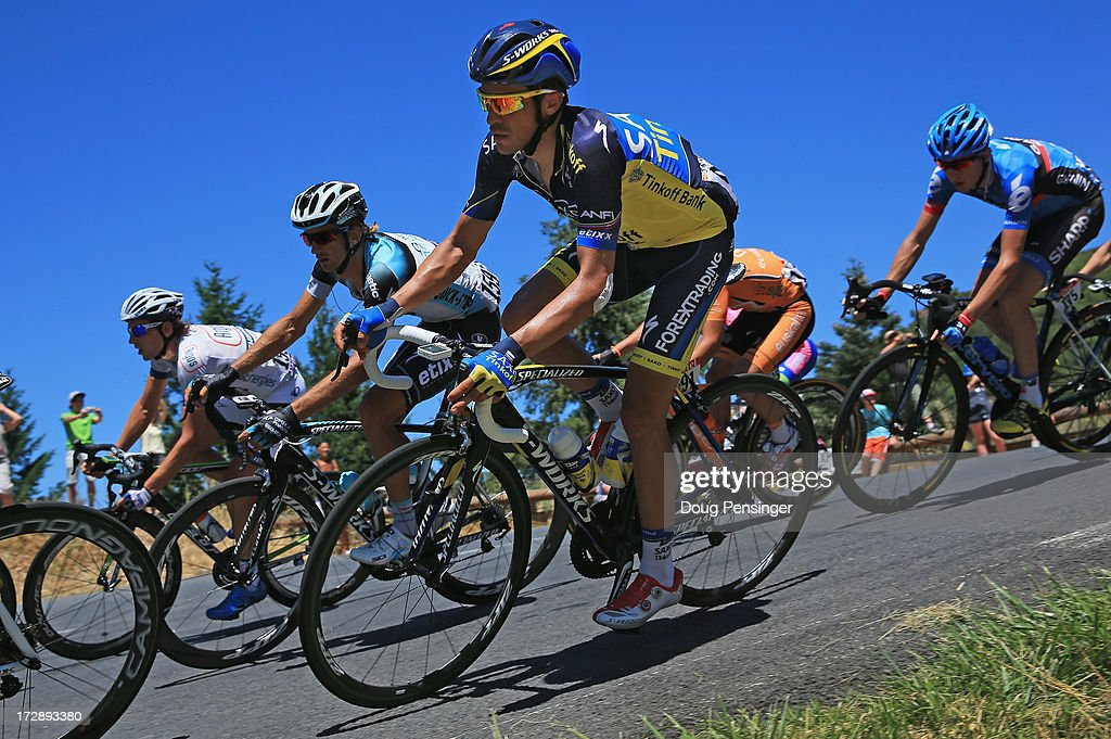 <a gi-track='captionPersonalityLinkClicked' href=/galleries/search?phrase=Alberto+Contador&family=editorial&specificpeople=562697 ng-click='$event.stopPropagation()'>Alberto Contador</a> of Spain riding for Team Saxo-Tinkoff descends the Col des 13 Vents during stage seven of the 2013 Tour de France, a 205.5KM road stage from Montpellier to Albi on July 5, 2013 in Saint-Gervais-sur-Mare, France.