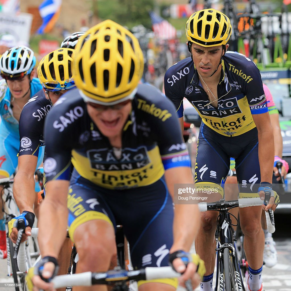 Alberto Contador (R) of Spain riding for Team Saxo-Tinkoff follows the wheel of his teammate Michael Rogers (L) of Australia riding for Team Saxo-Tinkoff on the second climb of l'Alpe-d'Huez during stage eighteen of the 2013 Tour de France, a 172.5KM road stage from Gap to l'Alpe d'Huez, on July 18, 2013 in Alpe d'Huez, France.