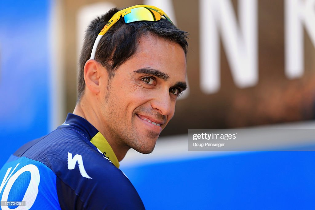 <a gi-track='captionPersonalityLinkClicked' href=/galleries/search?phrase=Alberto+Contador&family=editorial&specificpeople=562697 ng-click='$event.stopPropagation()'>Alberto Contador</a> of Spain riding for Team Saxo-Tinkoff looks on before taking a training ride on the eve of the 2013 Tour de France on June 28, 2013 in Porto Vecchio, France. The 100th edition of Le Tour de France begins in Porto Vecchio on the island of Corsica and ends July 21 in Paris.
