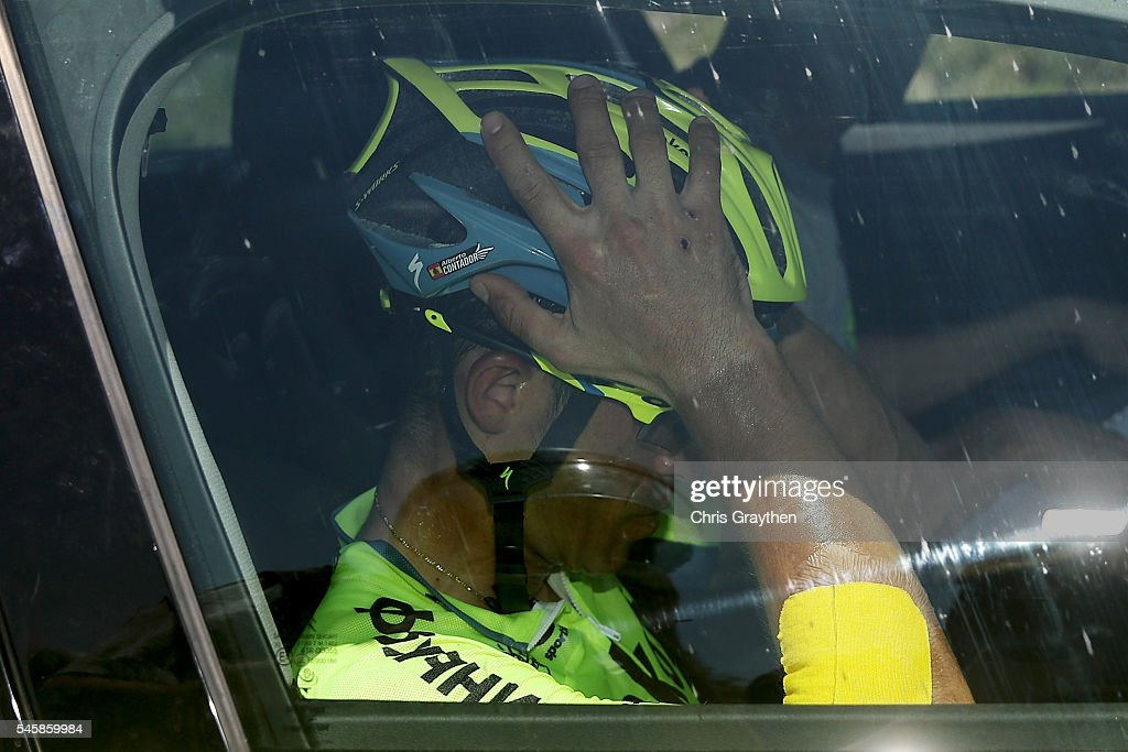 Alberto Contador of Spain riding for Tinkoff abandons the race during stage nine of the 2016 Le Tour de France a 1845km stage from Vielha Val d'Aran...
