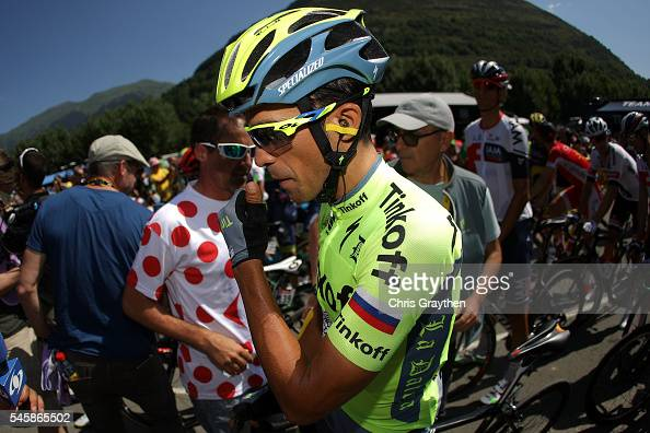 Alberto Contador of Spain riding for Tinkoff prepares to start stage nine of the 2016 Le Tour de France a 1845km stage from Vielha Val d'Aran to...