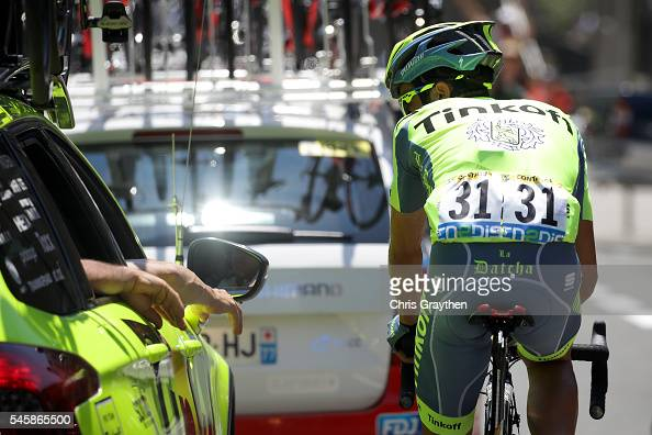 Alberto Contador of Spain riding for Tinkoff talks with his team car during stage nine of the 2016 Le Tour de France a 1845km stage from Vielha Val...