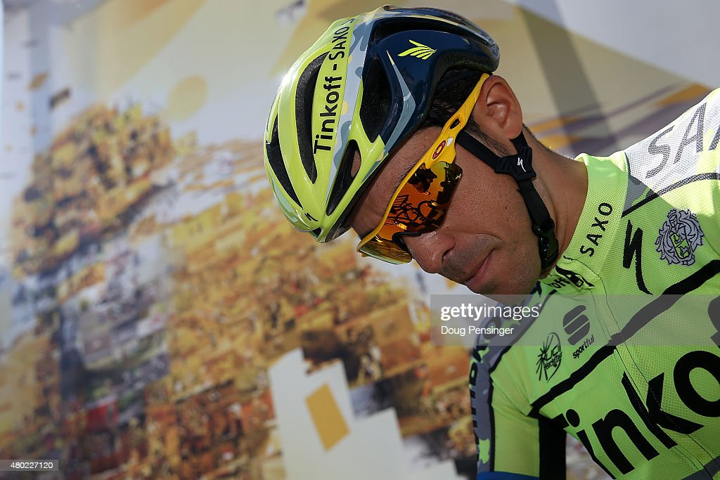 <a gi-track='captionPersonalityLinkClicked' href=/galleries/search?phrase=Alberto+Contador&family=editorial&specificpeople=562697 ng-click='$event.stopPropagation()'>Alberto Contador</a> of Spain riding for Tinkoff-Saxo arrives at sign in for stage seven of the 2015 Tour de France from Livarot to Fougeres on July 10, 2015 in Livarot, France.