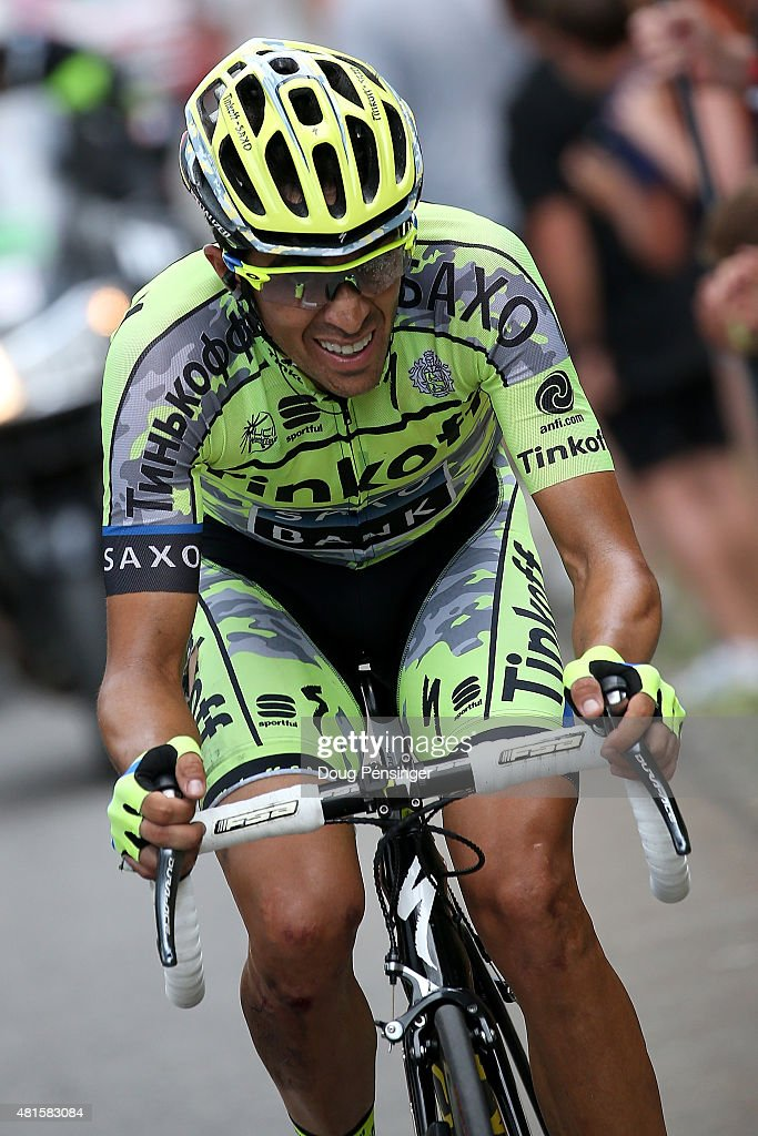 <a gi-track='captionPersonalityLinkClicked' href=/galleries/search?phrase=Alberto+Contador&family=editorial&specificpeople=562697 ng-click='$event.stopPropagation()'>Alberto Contador</a> of Spain riding for Tinkoff-Saxo looses time on the yellow jersey as me makes the climb to the finish during stage 17 of the 2015 Tour de France from Digne-Les-Bains to Pra Loup on July 22, 2015 in Digne, France.