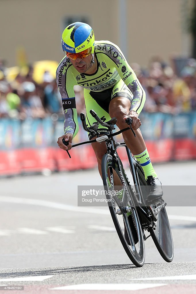 <a gi-track='captionPersonalityLinkClicked' href=/galleries/search?phrase=Alberto+Contador&family=editorial&specificpeople=562697 ng-click='$event.stopPropagation()'>Alberto Contador</a> of Spain riding for Tinkoff-Saxo races to 46th place in the individual time trial in stage one of the 2015 Tour de France on July 4, 2015 in Utrecht, Netherlands.