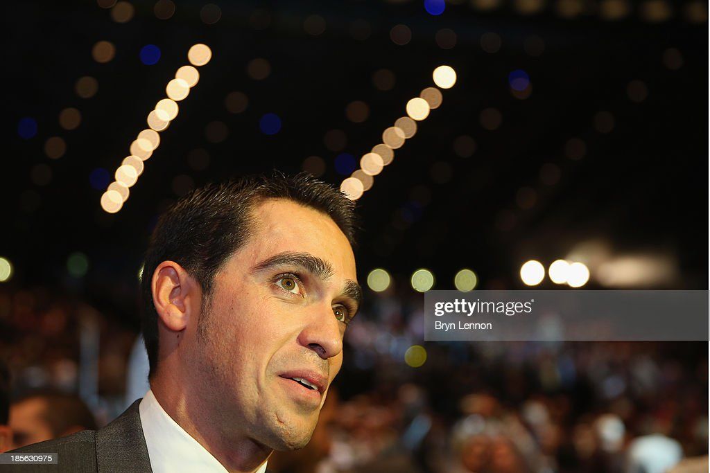<a gi-track='captionPersonalityLinkClicked' href=/galleries/search?phrase=Alberto+Contador&family=editorial&specificpeople=562697 ng-click='$event.stopPropagation()'>Alberto Contador</a> of Spain talks to the media prior to the route presentation of 2014 Tour de France at the Palais des Congres de Paris on October 23, 2013 in Paris, France. The 101st edition of the Tour de France will start with 3 stages in England.