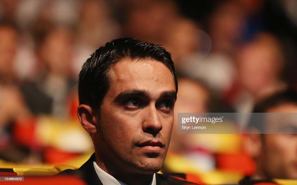 Alberto Contador of Spain watches the 2013 Tour de France Route Presentation at the Palais des Congres de Paris on October 24, 2012 in Paris, France.