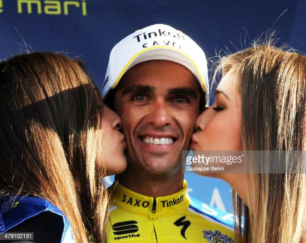 Alberto Contador of Tinkoff Saxo celebrates the victory after stage five of the 2014 Tirreno Adriatico a 192 km stage from Amatrice to Guardiagrele...