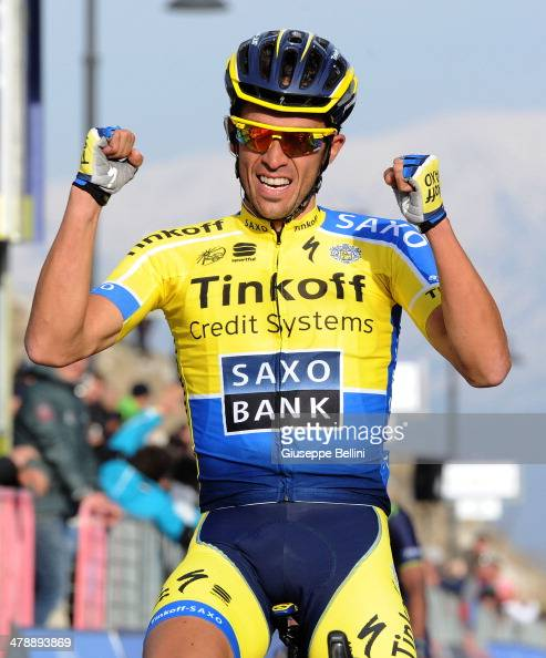 Alberto Contador of Tinkoff Saxo crosses the finish line and wins stage four of the 2014 Tirreno Adriatico a 244 km stage from Arezzo to Cittareale...