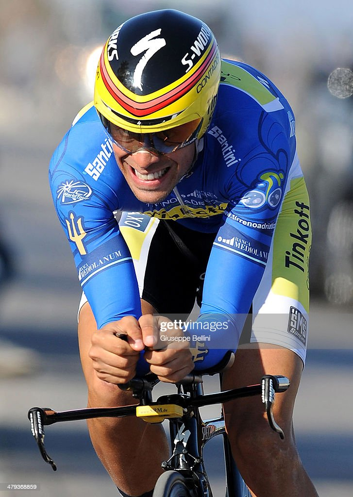 <a gi-track='captionPersonalityLinkClicked' href=/galleries/search?phrase=Alberto+Contador&family=editorial&specificpeople=562697 ng-click='$event.stopPropagation()'>Alberto Contador</a> of Tinkoff Saxo in action during stage seven of the 2014 Tirreno Adriatico, a 9.1 km individual time trial stage on March 18, 2014 in San Benedetto del Tronto, Italy.