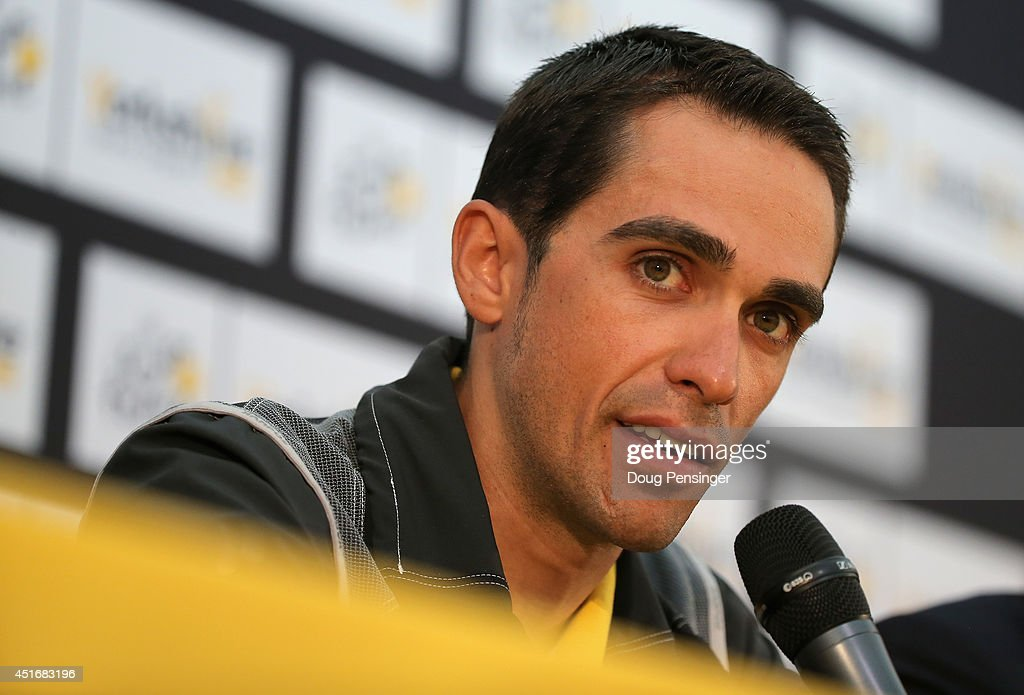 <a gi-track='captionPersonalityLinkClicked' href=/galleries/search?phrase=Alberto+Contador&family=editorial&specificpeople=562697 ng-click='$event.stopPropagation()'>Alberto Contador</a> Spain and Tinkoff-Saxo addresses the media during a press conference prior to the 2014 Le Tour de France on July 4, 2014 in Leeds, United Kingdom.