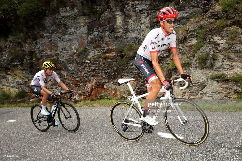 Alberto Contador Velasco of Spain riding for Trek - Segafredo and Mikel Landa of Spain riding for Team Sky ride during stage 13 of the 2017 Le Tour de France, a 101km stage from Saint-Girons to Foix. on July 14, 2017 in Saint-Girons, France.