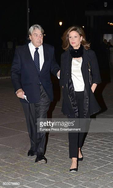 Alberto Cortina and Elena Cue are seen leaving 'Rigoletto' opera on November 30 2015 in Madrid Spain