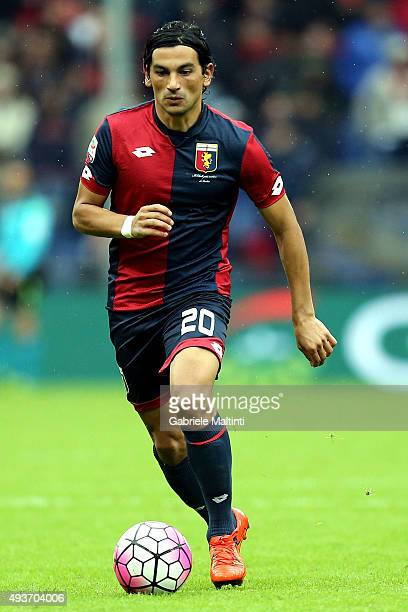 Alberto Costa of Genoa CFC in action during the Serie A match between Genoa CFC and AC Chievo Verona at Stadio Luigi Ferraris on October 18 2015 in...