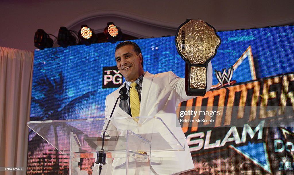 Alberto Del Rio arrives to the WWE SummerSlam Press Conference at Beverly Hills Hotel on August 13, 2013 in Beverly Hills, California.
