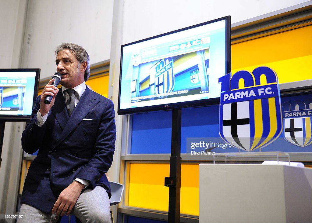 Alberto Di Chiara of Parma Radio attends an event to unveil the FC Parma centenary logo at Stadio Ennio Tardini on February 27, 2013 in Parma, Italy.