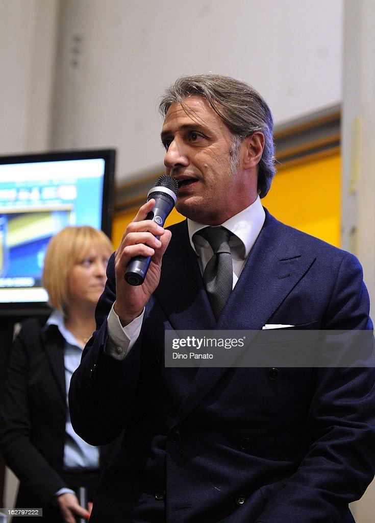 Alberto Di Chiara of Parma Radio attends an event to unveil the FC Parma centenary logo at Stadio Ennio Tardini on February 27, 2013 in Parma, Italy.